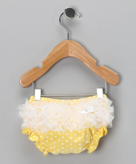 Yellow & White Ruffle Diaper Cover - Infant