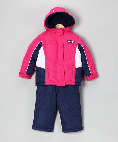 Fuchsia & Navy Snow Jacket Set - Infant