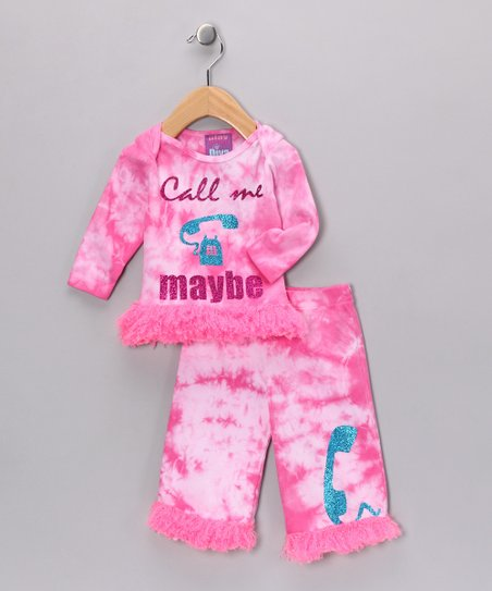 Pink Tie-Dye 'Call Me' Faux Fur Top & Pants - Infant