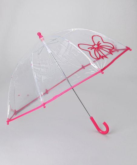 Transparent Fuchsia Bow Umbrella