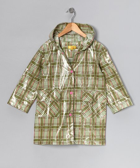Green & Pink Plaid Raincoat - Infant, Toddler & Kids