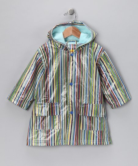 Blue Stripe Fleece-Lined Raincoat - Infant, Toddler & Kids