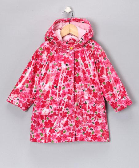 Pink Flower Fleece-Lined Raincoat - Infant, Toddler & Girls