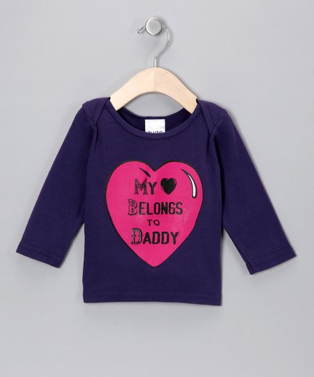 Purple 'Heart Belongs to Daddy' Long-Sleeve Tee - Infant & Kids