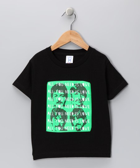 Black & Green 'All You Need Is Love' Tee - Toddler & Boys