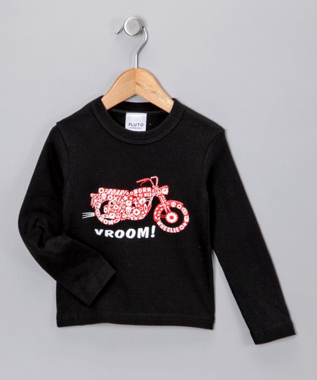 Black &#039;Vroom!&#039; Long-Sleeve Tee - Toddler &amp; Kids