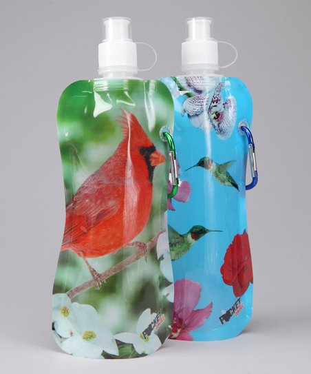 Hummingbird & Cardinal Pocket Bottle & Brush Set