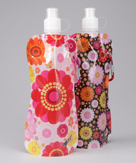 Black & White Flower Pocket Bottle & Brush Set