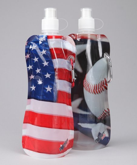 Baseball & American Flag Pocket Bottle & Brush Set