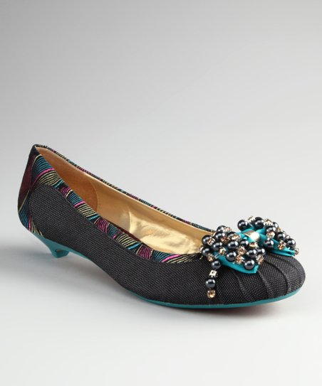 Black Please Me Kitten Heel