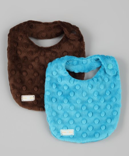 Brown & Turquoise Minky Newborn Bibs Set