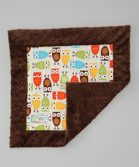 Brown & White Owl Minky Security Blanket