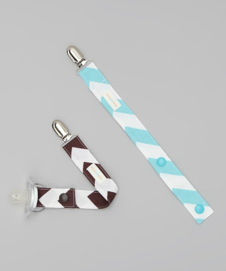 Blue & Brown Chevron Binky Keeper Set