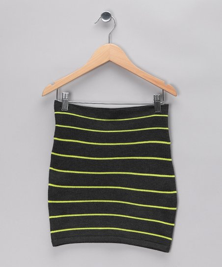 Charcoal & Neon Yellow Sweater Skirt