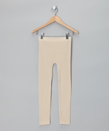 Vanilla Cream Thermal-Knit Leggings