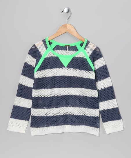 Neon Green & Gray Raglan Sweater