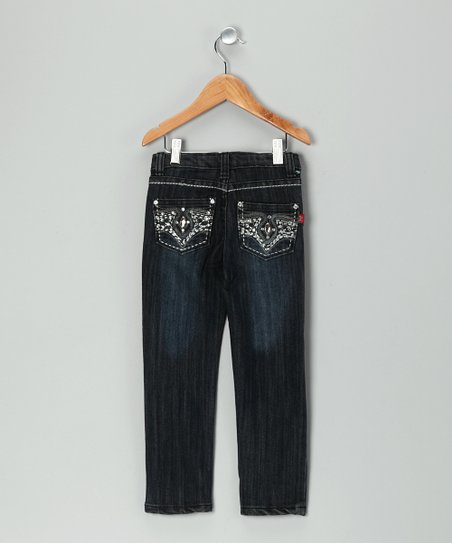 Black Dark Wash Rhinestone Skinny Jeans - Girls