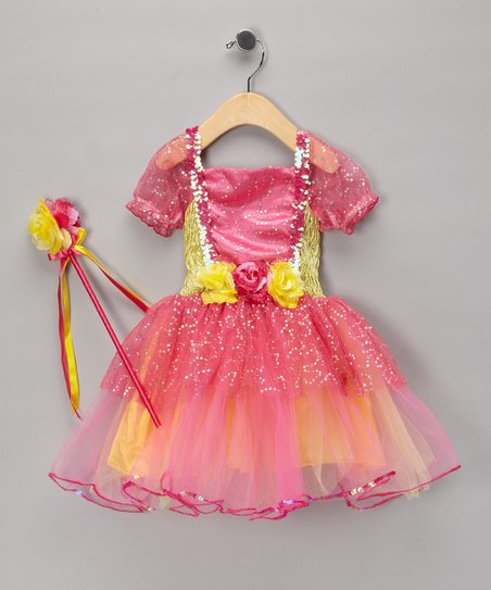 Hot Pink & Yellow Sequin Dress & Wand - Toddler & Girls