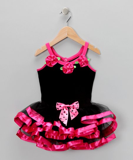 Black & Hot Pink Skirted Leotard - Toddler & Girls