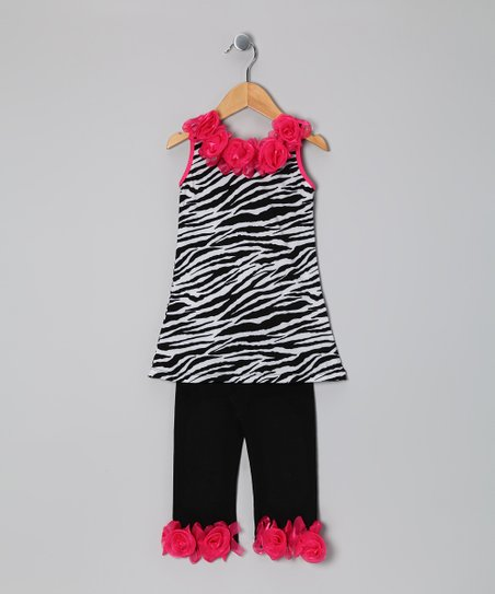 Black Zebra Rose Tunic & Black Leggings - Toddler & Girls