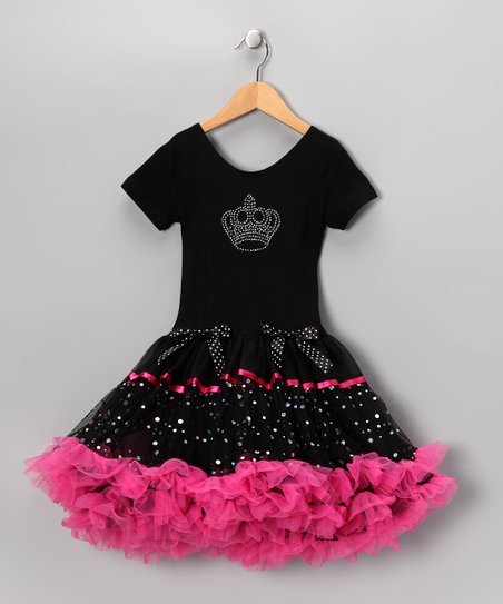 Black & Hot Pink Crown Ruffle Dress - Toddler & Girls