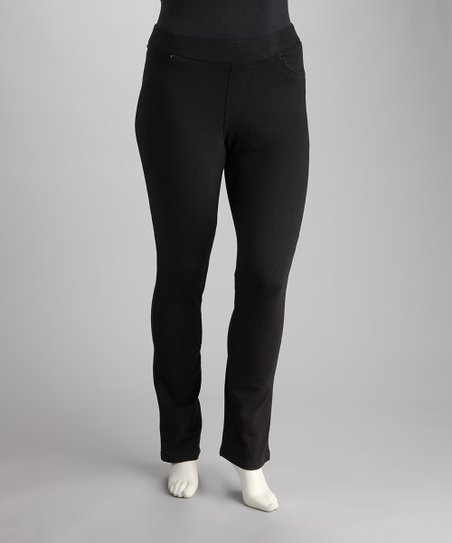 Black Plus-Size Straight-Leg Jeggings