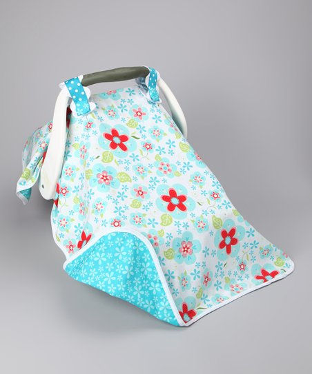 Turquoise & Red Flower Power Car Seat Canopy