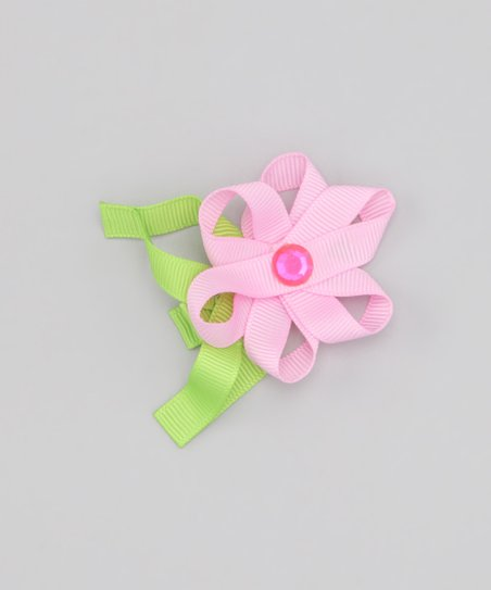 Pink Loopy Leaf Flower Clip