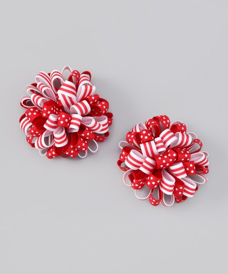 Red & White Puff Clip Set
