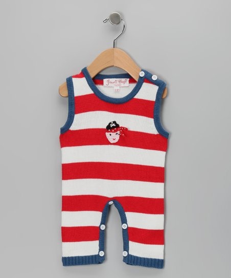 White & Blue Pirate Romper - Infant