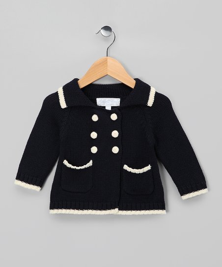 Powell Craft Navy Pram Cardigan - Infant