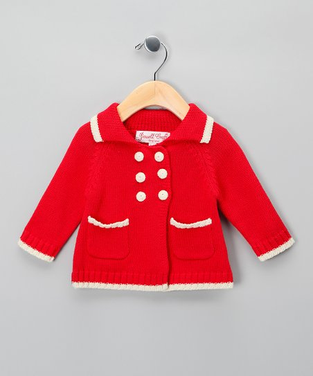 Powell Craft Red Pram Cardigan - Infant & Toddler