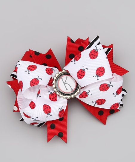Ladybug Initial Layered Bow