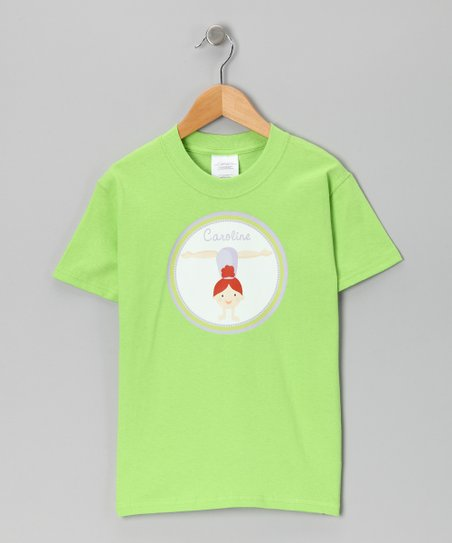 Lime Red Hair Gymnast Personalized Tee - Infant, Toddler & Girls