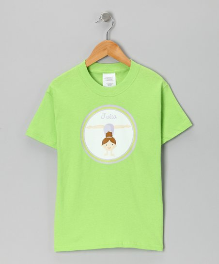 Lime Brown-Haired Gymnast Personalized Tee - Infant, Toddler & Girls