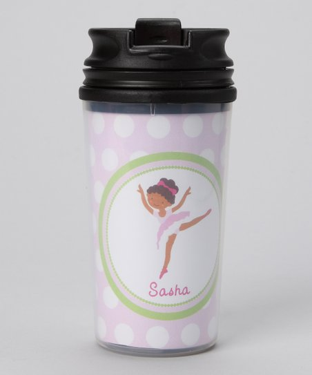 Pink Black-Haired Ballerina Personalized Tumbler