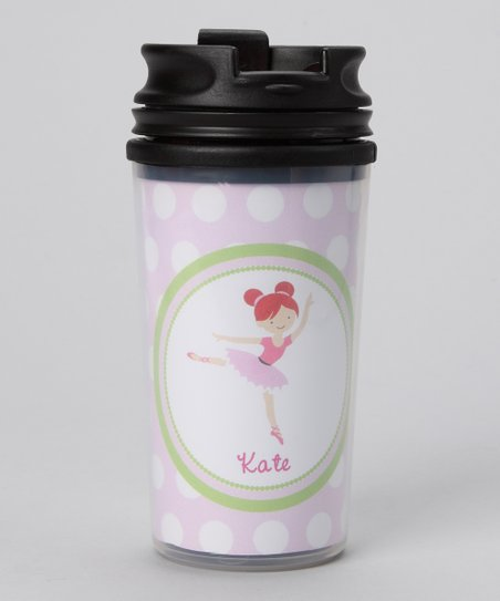 Pink Red-Haired Ballerina Personalized Tumbler