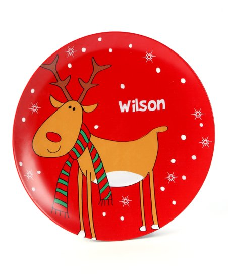 Red Rudolph Personalized Plate