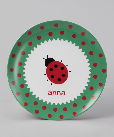 Green &amp; Red Ladybug Personalized Plate