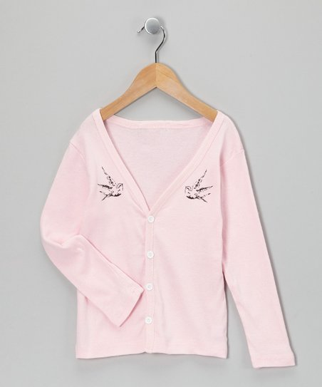 Light Pink Bird Button-Up Cardigan - Girls