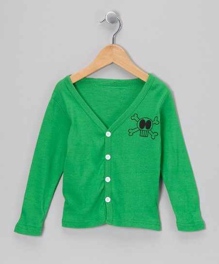 Green Skull Cardigan - Toddler & Girls