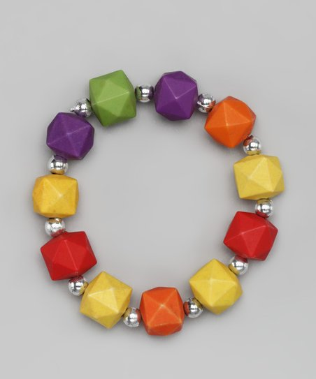 Red & Yellow Cube Stretch Bracelet