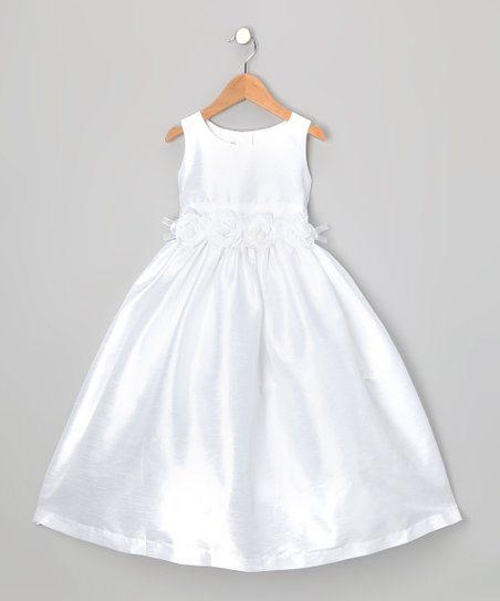 White Flower A-Line Dress - Toddler & Girls