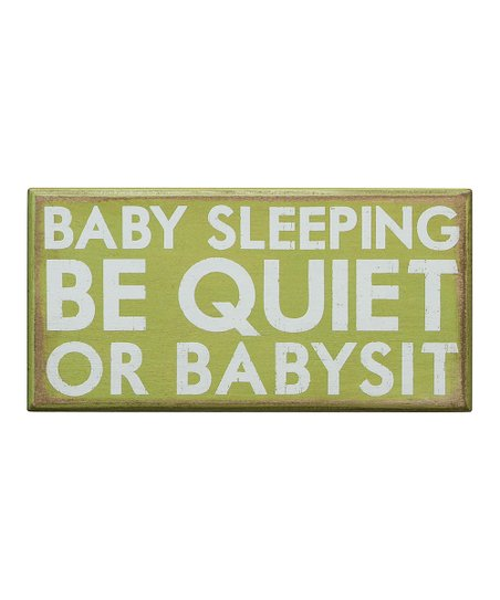 Green 'Baby Sleeping' Box Sign