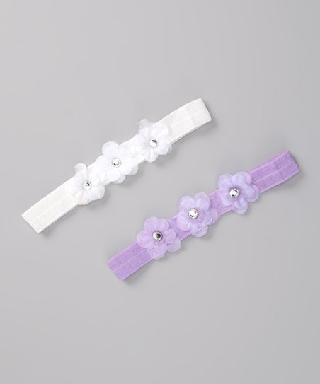White & Lavender Headband Set - Infant & Toddler