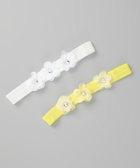 Yellow & White Headband Set - Infant & Toddler