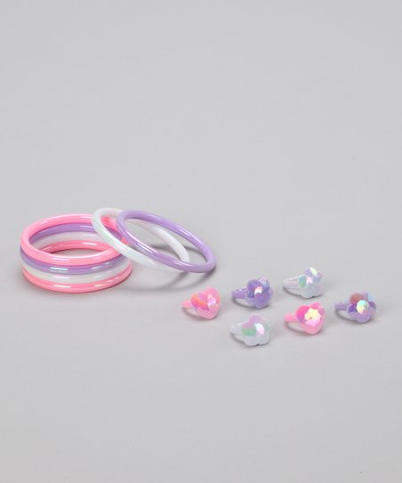 Pink &amp; Lilac Princess Bracelet &amp; Ring Set