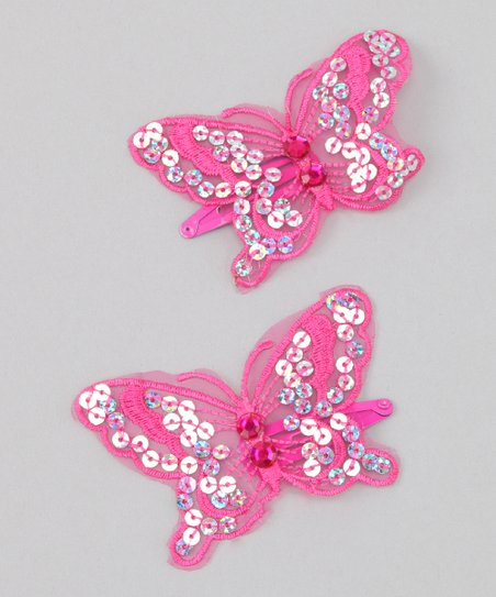 Fuchsia Sequin Butterfly Clip - Set of Two