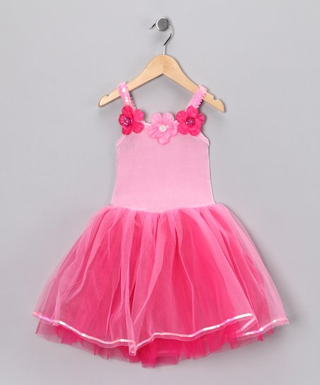 Fuchsia & Light Pink Flower Dress - Girls
