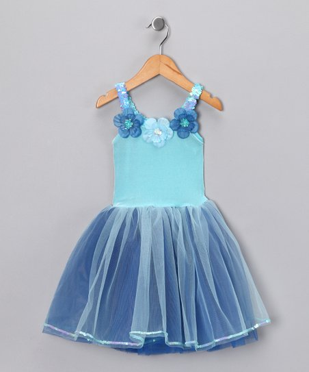 Blue & Turquoise Flower Dress - Toddler & Girls